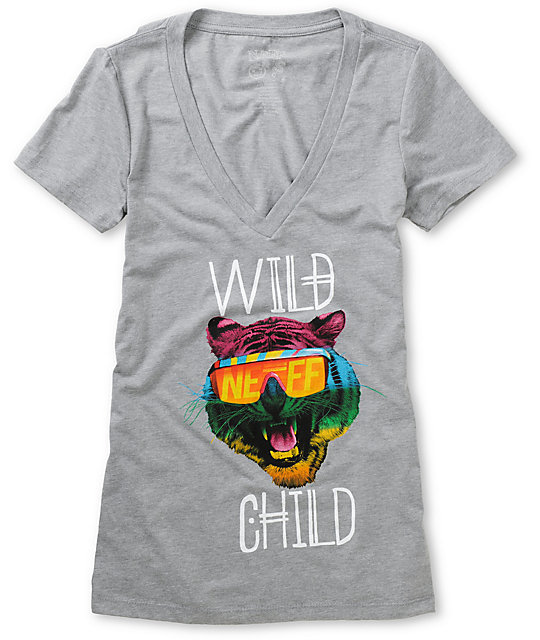 Neff Wild Child Charcoal V-Neck T-Shirt