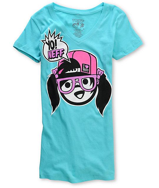 Neff Yo Neff Girl! Turquoise V-Neck T-Shirt