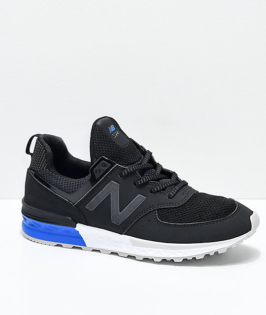 New Balance Numeric Boys 574 Sport Black, White & Blue Shoes