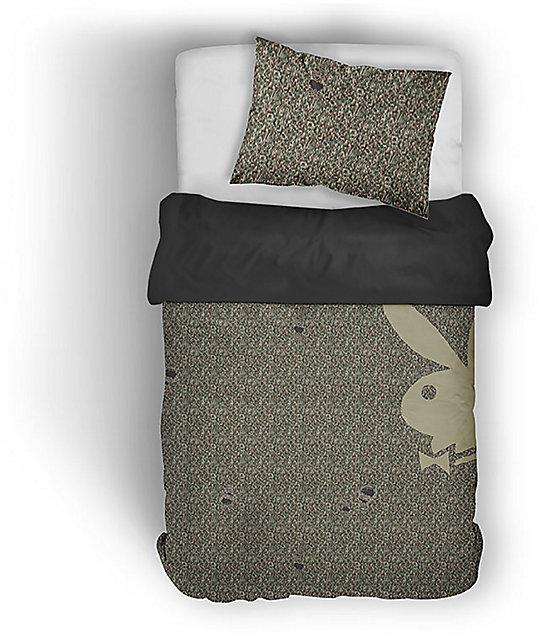Night Shift X Playboy Ripped Camo Knit Twin Comforter Set