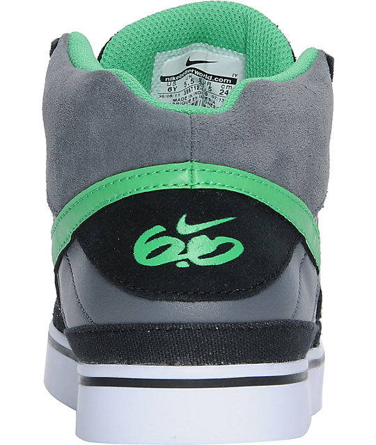 Nike 6.0 Boys Mavrk Mid Black, Grey, & Hyper Verde Shoes