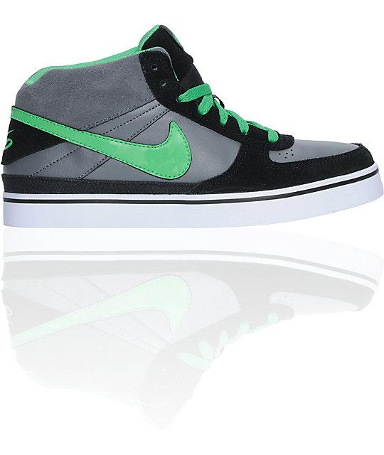 Nike 6.0 Boys Mavrk Mid Black, Grey, & Hyper Verde Shoes