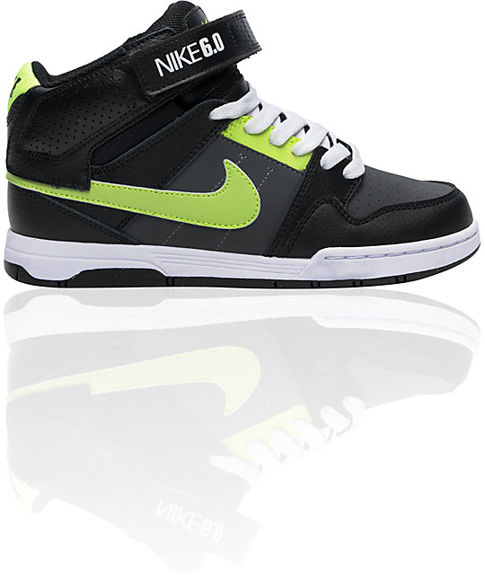 Nike 6.0 Boys Mogan Mid 2 Jr. Black, Neon Yellow & Grey Skate Shoes