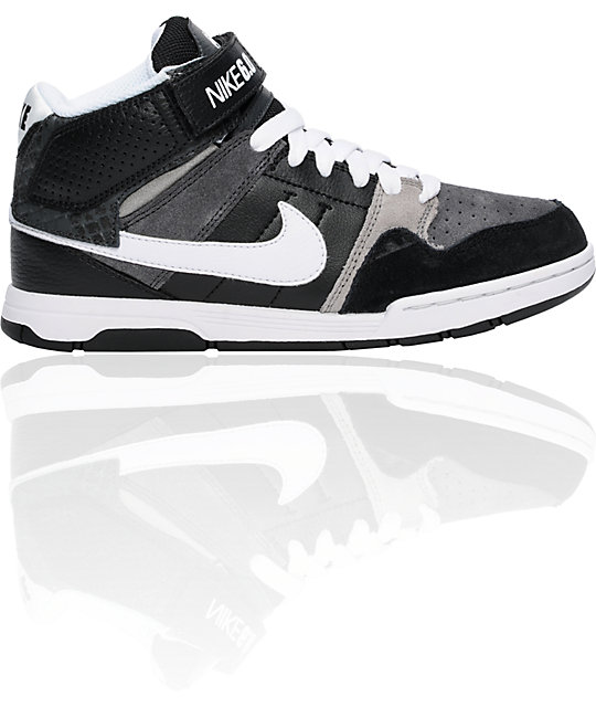 Nike 6.0 Boys Mogan Mid 2 Jr. Black, White & Grey Shoes