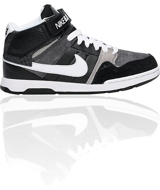 nike 6 0 boys mogan mid 2 jr black white grey shoes. Black Bedroom Furniture Sets. Home Design Ideas