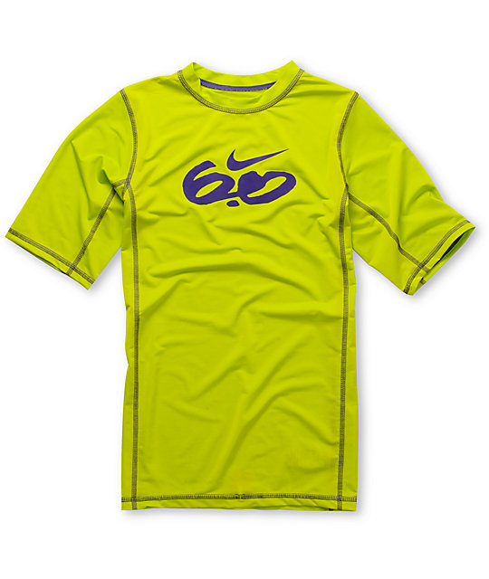 Nike 6.0 Boys Short Sleeve Lime Green Rash Guard