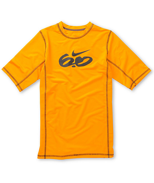 Nike 6.0 Boys Short Sleeve Orange Rash Guard