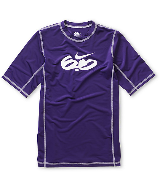 Nike 6.0 Boys Short Sleeve Purple Rash Guard