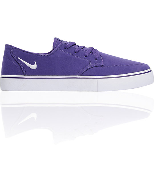 Nike 6.0 Braata LR Club Purple & White Canvas Skate Shoes