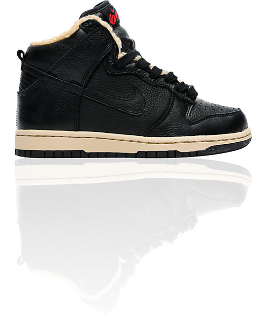 Nike 6.0 Dunk Hi Black Leather & Shearling Fur Shoes