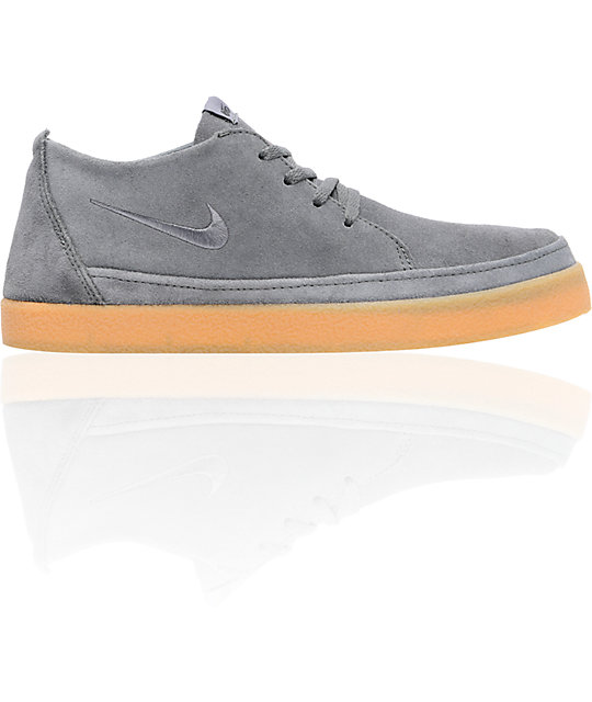 Nike 6.0 Rzol Low Grey Suede & Gum Skate Shoes