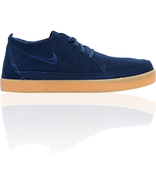 Nike 6.0 Rzol Low Suede Navy & Gum Skate Shoes
