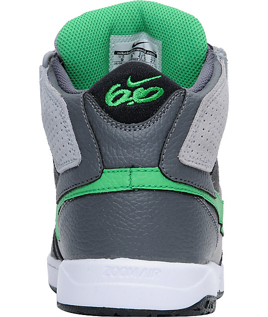 Nike 6.0 Zoom Mogan Mid 2 Grey, White, & Green Skate Shoes