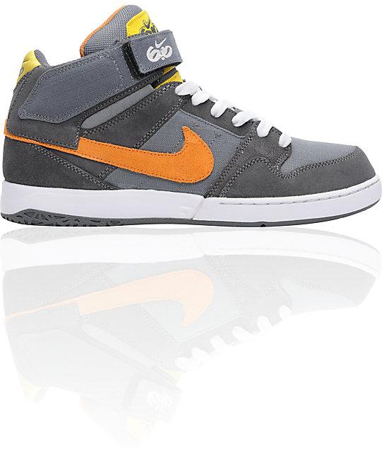 Nike 6.0 Zoom Mogan Mid 2 Grey & Orange Skate Shoes