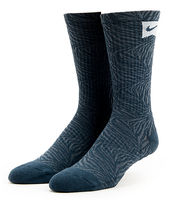 Nike Navy Blue Tiger Stripe Skateboarding Crew Socks