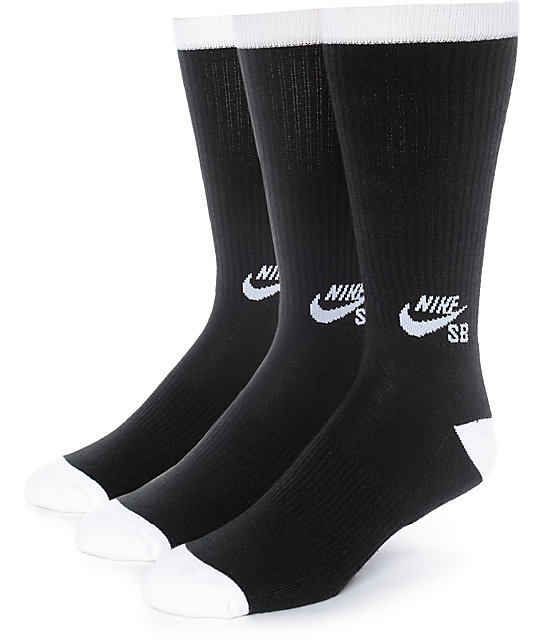 nike sb 3 pack black crew socks zumiez. Black Bedroom Furniture Sets. Home Design Ideas