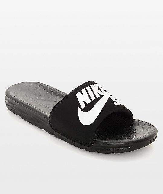 Nike Sb Benassi Solarsoft Black Amp White Slides Zumiez