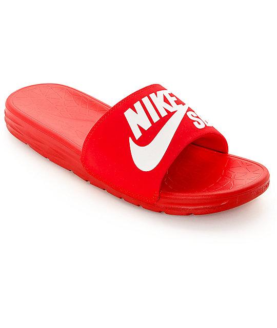 Nike Sb Benassi Solarsoft Red Amp White Slides At Zumiez Pdp