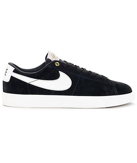 ... nike sb blazer low gt black white skate shoes