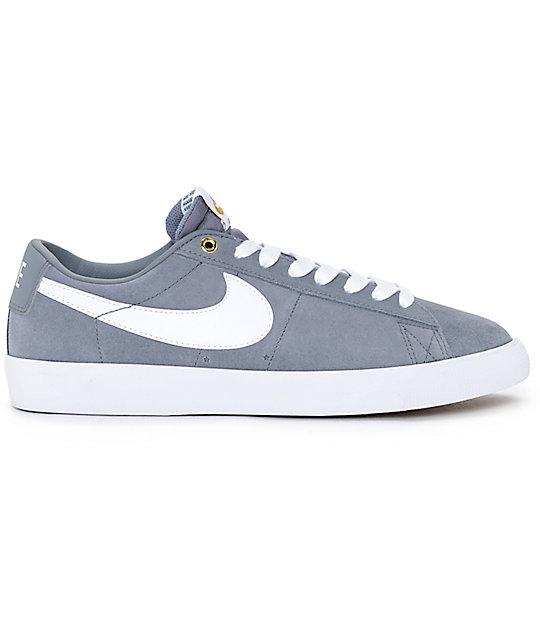finest selection 1abd0 8c3db Nike SB Blazer Low GT Grey White Skate Shoes nike blazer low zumiez ...
