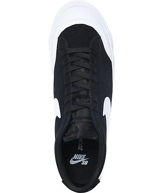Nike SB Blazer XT Low Black & White Suede Skate Shoes