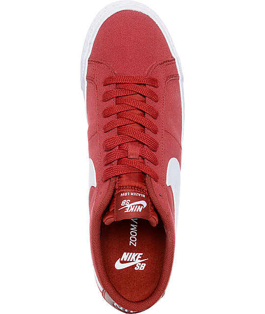 Nike SB Blazer Zoom Cayenne & White Canvas Skate Shoes