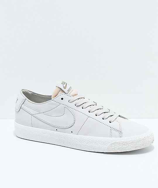 Nike SB Blazer Zoom Low Deconstructed Light Bone & White Skate Shoes