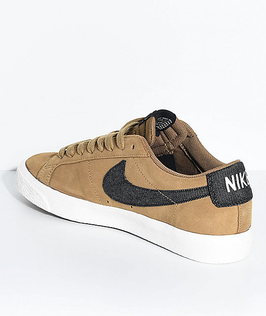 hot sale online c878c 89c9a ... zumiez Nike SB Blazer Zoom Low Golden Biege White Suede Skate Shoes .  ...