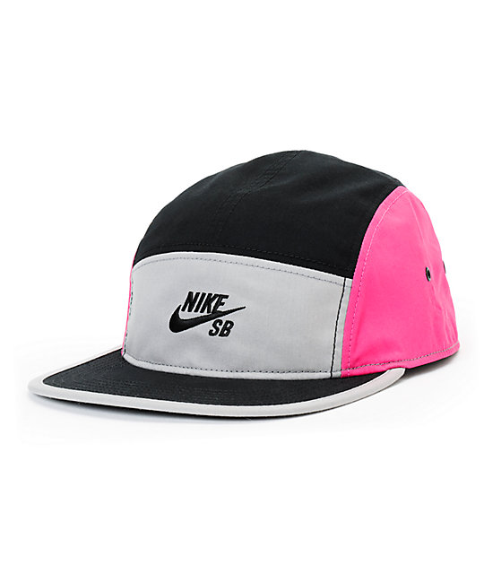 nike sb blockbuster black grey pink 5 panel hat