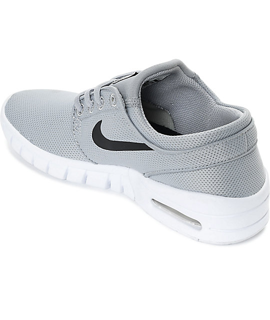 Nike SB Boys Janoski Air Max Wolf Grey & White Skate Shoes