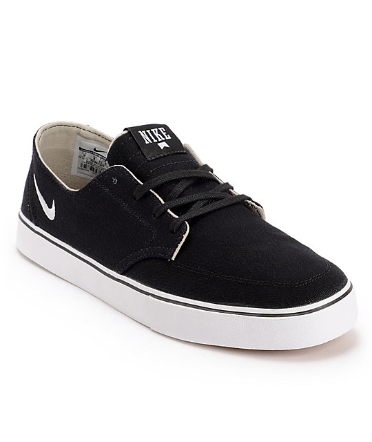 Nike SB Braata LR Black & White Canvas Skate Shoes