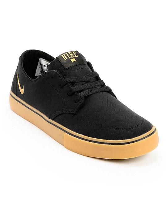 nike sb braata lr black gum canvas skate shoes