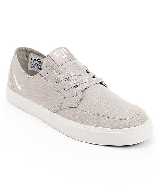 nike sb braata lr grey white canvas skate shoes