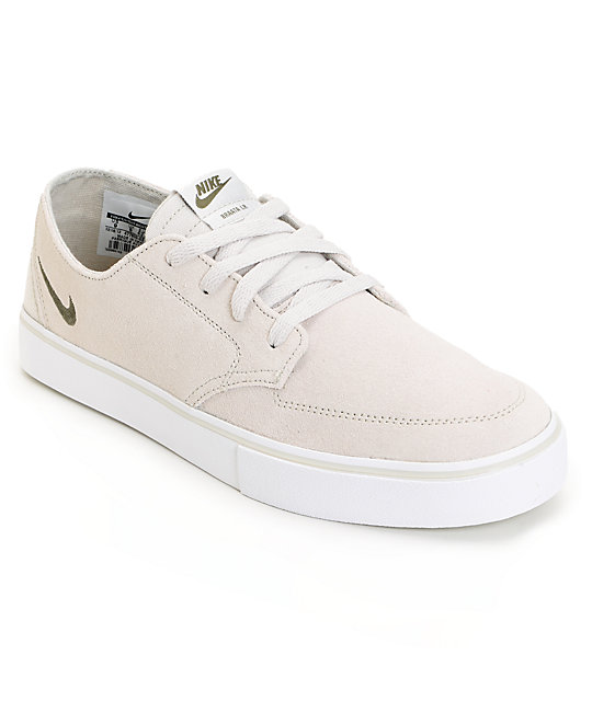 Nike SB Braata LR Light Bone & Medium Olive & White Skate Shoes