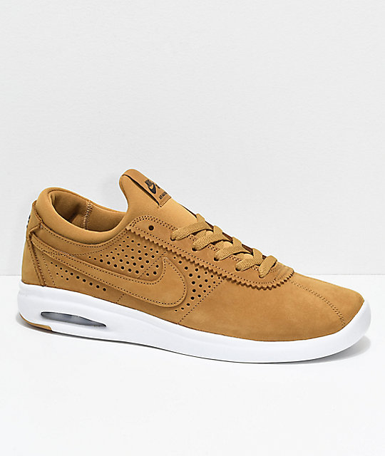 Nike SB Bruin Vapor Air Max Wheat & White Leather Skate Shoes