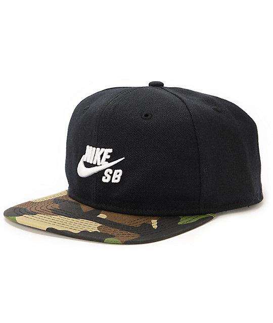 Nike SB Commander Black & Camo Snapback Hat