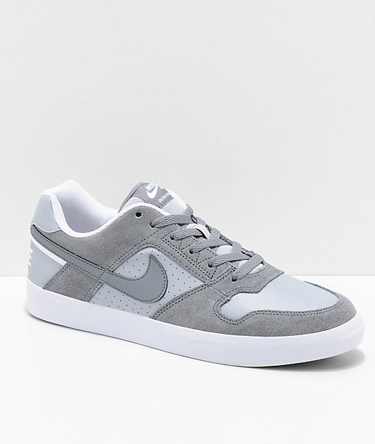 Nike SB Delta Force Cool Grey & White Skate Shoes