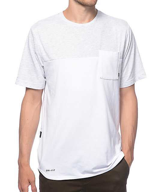 nike sb dri fit blocked white pocket t shirt