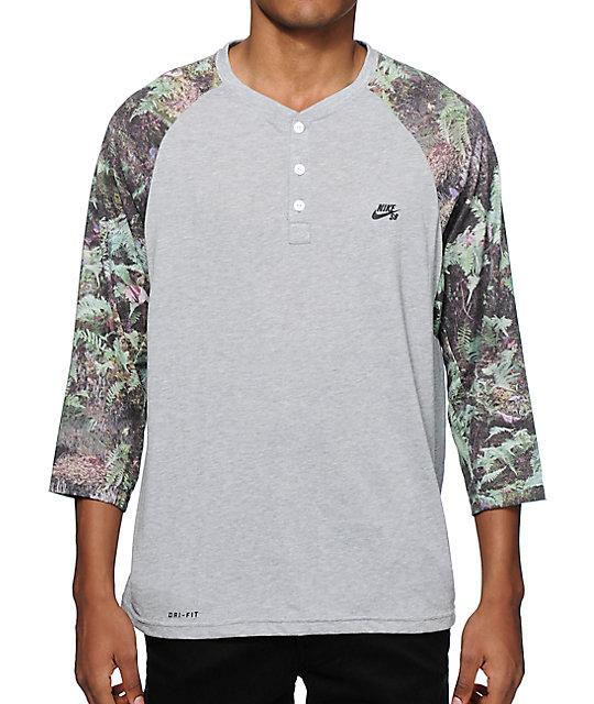 6b0bea68 Nike SB Dri Fit Fern Henley Baseball T Shirt 247173
