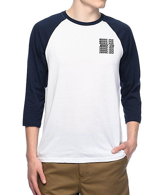 Nike SB Dri-Fit GFX White & Navy Baseball T-Shirt