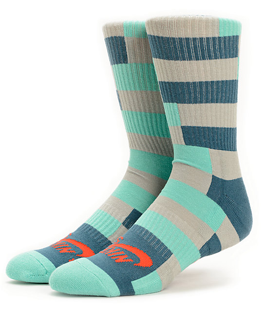 nike sb dri fit mint grey striped crew socks zumiez. Black Bedroom Furniture Sets. Home Design Ideas