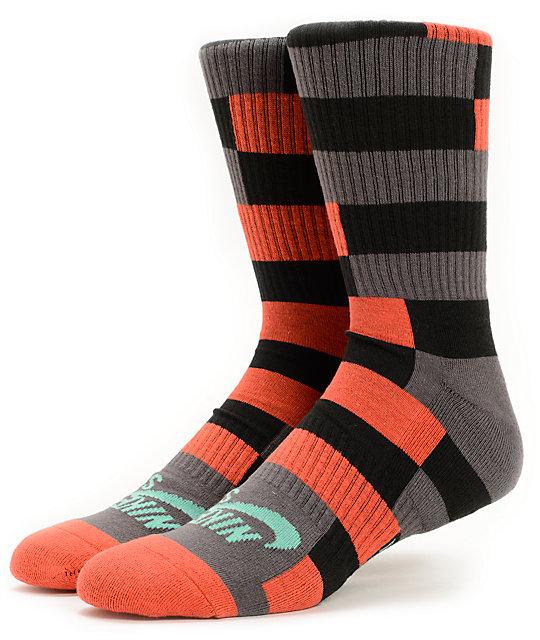 Nike SB Dri-Fit Orange, Black, & Grey Striped Crew Socks