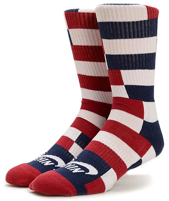 Nike SB Dri-Fit Red, White, & Navy Striped Crew Socks