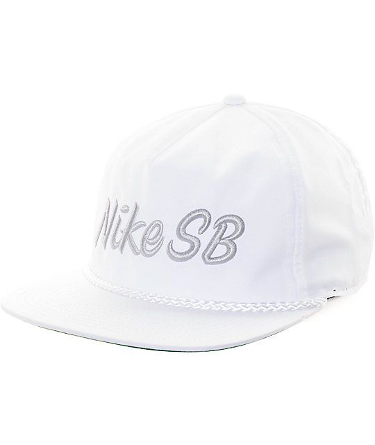 Nike SB Dri-Fit Unstructured Pro White Snapback Hat