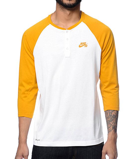 Nike SB Dri-Fit White & Yellow Henley Baseball T-Shirt