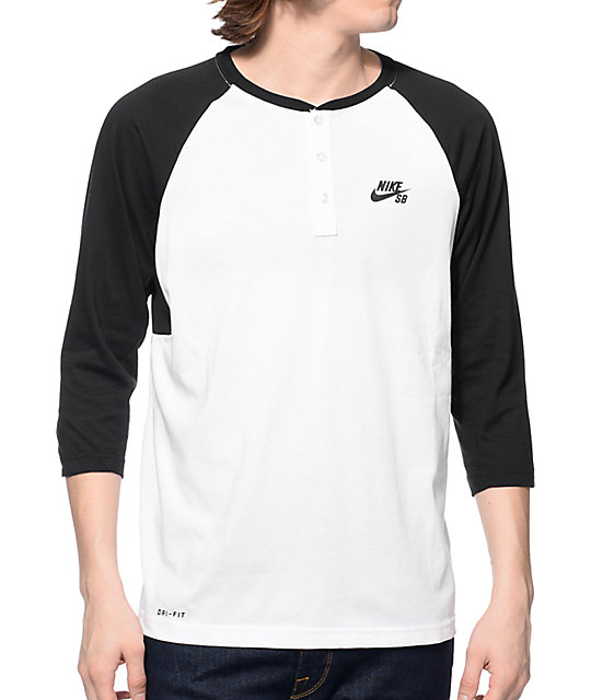 nike sb dri fit white black henley baseball t shirt