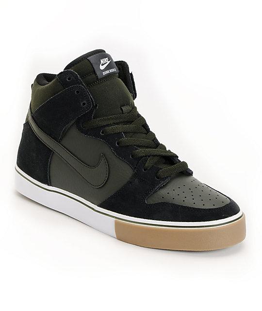 Nike SB Dunk High LR Black, Sequoia, Gum Medium Brown & White Shoes