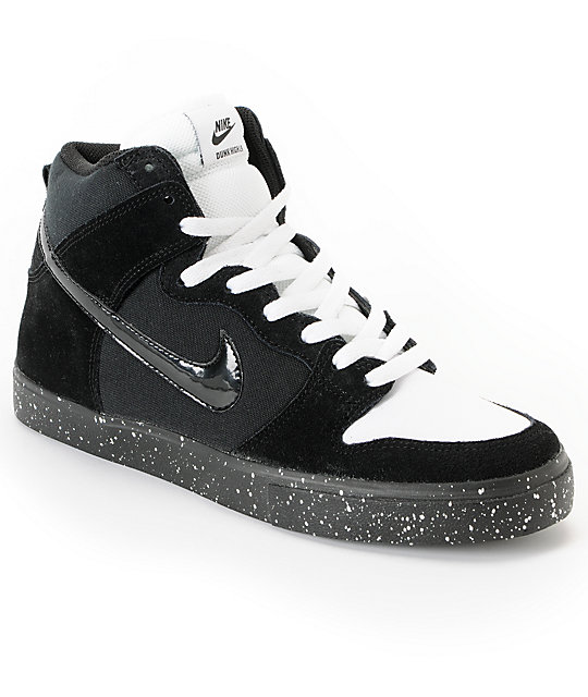 Nike SB Dunk High LR Black, White & Skunk Skate Shoes