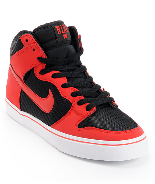 nike sb dunk high red black