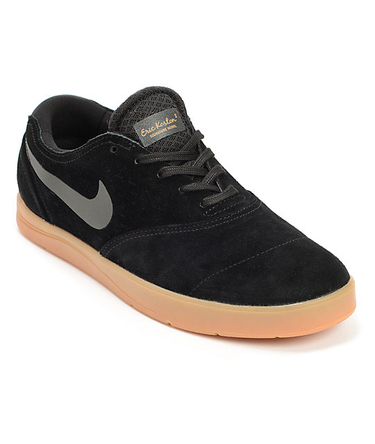 Nike SB Eric Koston 2 Lunarlon Black & Gum Skate Shoes